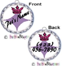 Fancy Pants Fashion Bottle Cap (Silver) Pet ID Tag ~ with Pink Crown - DOUBLE SIDED ARTWORK!