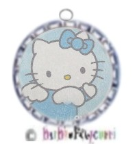 Fancy Pants Fashion Bottle Cap (Silver) Pet ID Tag ~ Hello Kitty Blue with Bow