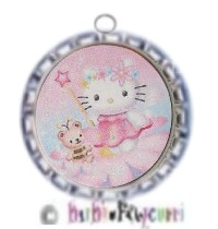 Fancy Pants Fashion Bottle Cap (Silver) Pet ID Tag ~ Hello Kitty Princess with Bumble Bee Buddy