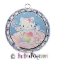Fancy Pants Fashion Bottle Cap (Silver) Pet ID Tag ~ Hello Kitty Princess ~ Pink & Blue with Bunny B