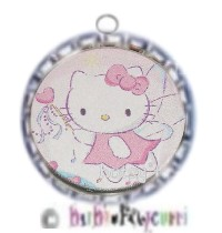 Fancy Pants Fashion Bottle Cap (Silver) Pet ID Tag ~ Hello Kitty Pink Princess with Wand
