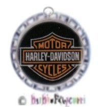 Fancy Pants Fashion Bottle Cap (SILVER) Pet ID Tag ~ Harley Motorcycle - for the Studly Pet!