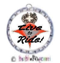 Fancy Pants Fashion Bottle Cap (SILVER) Pet ID Tag ~ Live to Ride with Biker Cross