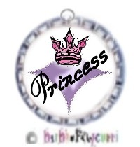 Fancy Pants Fashion Bottle Cap (Silver) Pet ID Tag ~ Princess with Crown