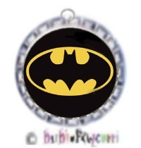 Fancy Pants Fashion Bottle Cap (SILVER) Pet ID Tag ~ Batman