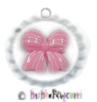 Fancy Pants Fashion Bottle Cap (White) Pet ID Tag ~ Pretty In Pink Candy-Striped Bow   ~ 3 Dimension