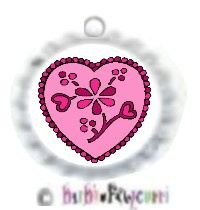 Fancy Pants Fashion Bottle Cap (White) Pet ID Tag ~ Floral Pink Heart for the Femme Fatal'!