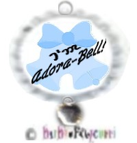 "Fancy Pants Fashion Bottle Cap (White) Pet ID Tag ~ ""I'm Adora-Bell"" (Blue) with Silver Adora-Bell C"