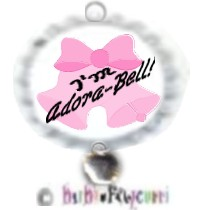 "Fancy Pants Fashion Bottle Cap (White) Pet ID Tag ~ ""I'm Adora-Bell"" (Pink) with Silver Adora-Bell C"