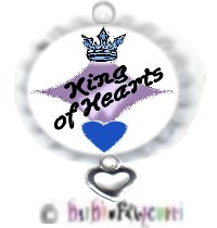 Fancy Pants Fashion Bottle Cap (White) Pet ID Tag ~ King of Hearts with HEART-fully Yours Charm
