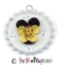 Fancy Pants Fashion Bottle Cap (White) Pet ID Tag ~ Pressed Pansy w/Rhinestones - Signifies Loving T