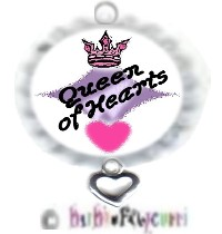 Fancy Pants Fashion Bottle Cap (White) Pet ID Tag ~ Queen of Hearts with HEART-fully Yours Charm