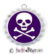 Fancy Pants Fashion Bottle Cap (White) Pet ID Tag ~ Skull & Crossbones ~ Purple Background