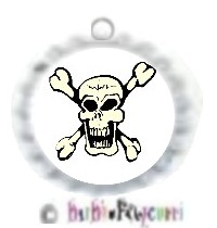 Fancy Pants Fashion Bottle Cap (White) Pet ID Tag ~ Skull & Crossbones (For the STUDLY Pet!)