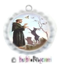 FANCY PANTS FASHION BOTTLE CAP (WHITE) PET ID TAG~ ST. FRANCIS WITH CAT & DOG (FULL COLOR)