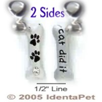 Dog Bone with PawPrints & Clear Swarovski Crystal/Cat Did It & Lobster Clasp
