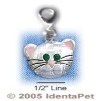 Cat Face with Emerald Swarovski Crystal Eyes & Lobster Clasp