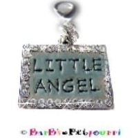 """LITTLE ANGEL"" BLING ID TAG / Medal / Charm ~ Surrounded by Clear Swarovski Crystals ~ 1"" x 3/4"" ~ w"