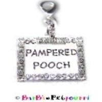 """Pampered Pooch"" Bling Charm / ID Tag ~ Surrounded by Clear Swarovski Crystals ~ Engraveable on Back"