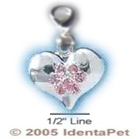 Heart with Light Pink Swarovski Crystal Paw & Lobster Clasp