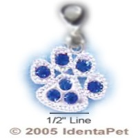 Paw Print with Blue Swarovski Crystals & Lobster Clasp
