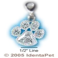 Paw Print with Clear Swarovski Crystals & Lobster Clasp