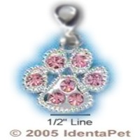 Paw Print with Light Pink Swarovski Crystals & Lobster Clasp