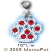 Paw Print with Red Swarovski Crystals & Lobster Clasp