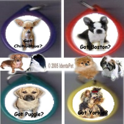 """GOT"" BREED KEY RING - CHIHUAHUA, BOSTON TERRIER, PUGGLE, YORKIE & MORE!"