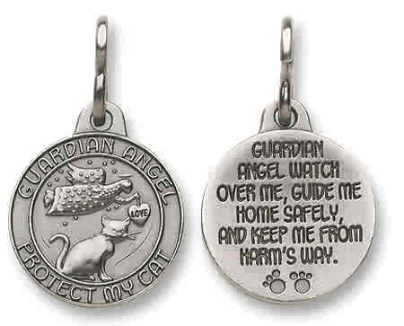 "GUARDIAN ANGEL LOVE PROTECT MY CAT  Medal ~ Charm ~ Keepsake ~ Keyring - 1"" ~ Lead-Free Pewter"