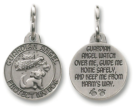 "GUARDIAN ANGEL LOVE PROTECT MY DOG  Medal ~ Charm ~ Keepsake ~ Keyring - 1"" ~ Lead-Free Pewter"