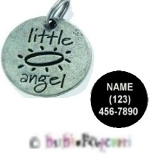 "LITTLE ANGEL HALO Medal ~ Charm ~ Keyring ~ 1"" ~ Lead Free Pewter ~ WITH PET ID INFORMATION!"