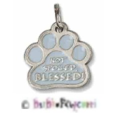 "NOT SPOILED, BLESSED PAWPRINT (PAW PRINT) Medal ~ Charm ~ Keepsake ~ Keyring ~ 1"" ~ Lead Free Pewter"