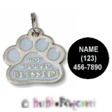 "NOT SPOILED, BLESSED PAWPRINT (PAW PRINT) Medal ~ Charm ~ Keepsake ~ 1"" ~ Lead Free Pewter ~ WITH PE"