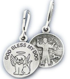 GUARDIAN ANGEL DOG~ GOD BLESS MY DOG & ST. FRANCIS ~ Two Sided ~ Medal ~ Charm ~ Keepsake ~ Keyring