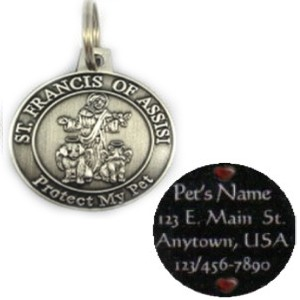 ST. FRANCIS PROTECT MY PET MEDAL CHARM (Silver) / ID TAG / w/Split Ring AND PET INFORMATION!