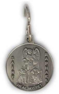"ST. RAPHAEL ""HEAL MY PET"" MEDAL / TAG / KEYRING 1""- with ""S"" Hook"