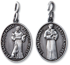 "ST. FRANCIS & ST. ANTHONY DOUBLE SIDED OVAL Medal / Keyring ~ Lead-Free Pewter ~ 1"" W x 1 1/4"" H"