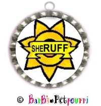 Fancy Pants Fashion Bottle Cap (SILVER) Pet ID Tag ~ Your FurKid-in-Charge sheRuff's Badge