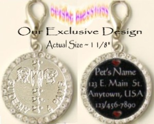 BRIGHT BLESSINGS ~ ST. FRANCIS, ST. ANTHONY, GUARDIAN ANGEL PET ID MEDAL with PAWPRINTS (PAW PRINTS)