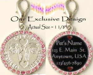 BRIGHT BLESSINGS ~ GUARDIAN ANGEL PINK BLUSH RHINESTONE PET ID MEDAL with PAWPRINTS (PAW PRINTS) ~ L