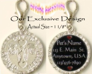 "BRIGHT BLESSINGS ~ GUARDIAN ANGEL  WHITE ""DIAMOND"" RHINESTONE PET ID MEDAL with PAWPRINTS (PAW PRINT"