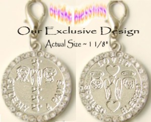 BRIGHT BLESSINGS ~ ST. FRANCIS, ST. ANTHONY & GUARDIAN ANGEL RHINESTONE PET MEDAL with Pawprints (Pa