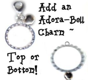 Add a Silver Adora-Bell to Any BottleCap ID Tag - YOUR CHOICE ~ Top or Bottom Attachment