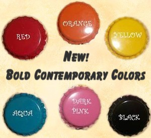 Upgrade any BottleCap Artwork onto our NEW BOLD CONTEMPORARY Bottlecap Colors!