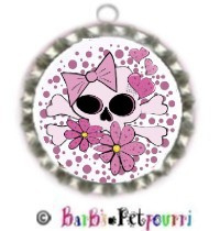 Fancy Pants Fashion Bottle Cap (SILVER) Pet ID Tag ~ Girlie Flower Skull & Crossbones