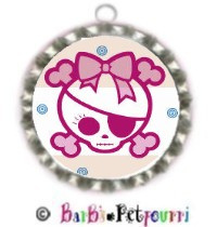 Fancy Pants Fashion Bottle Cap (SILVER) Pet ID Tag ~ Girlie Bow Pink Pirate Skull & Crossbones