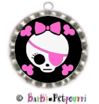 Fancy Pants Fashion Bottle Cap (SILVER) Pet ID Tag ~ Girlie Bow Pirate Skull & Crossbones ~ Black Ba