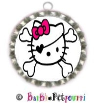 Fancy Pants Fashion Bottle Cap (SILVER) Pet ID Tag ~ Hello Kitty Pirate with Crossbones
