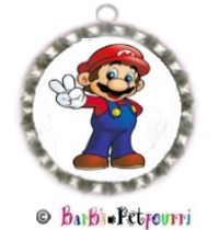 Fancy Pants Fashion Bottle Cap (SILVER) Pet ID Tag ~ Super Mario